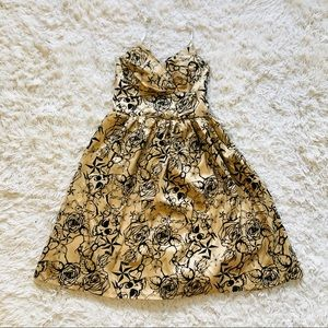 Halloween Tattoo Print Dress • Gold + Black Velvet
